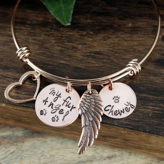 Pet Memorial Jewelry, Personalized Memorial Charm Bracelet, Memorial Bangle Bracelet, Remembrance Bracelet, Fur Baby, Wire Bangle