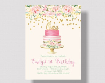GIRLS FIRST BIRTHDAY Invitation Pink and Gold Glitter   Watercolor Floral 1st Birthday Invitation for Girl Pink and Gold   Boho Shabby Chic