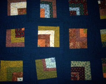 Funky Squares Toddler Quilt- Baby Blanket Navy Floral Abstract Gender Neutral Traditional Blue Calico