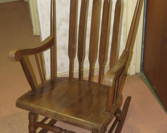 Scandinavian style rocking chair, rocking chair, Carpenter work, solid wood, Made in France, 1960s