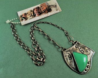 Crysoprase gemstone pendant necklace. Pirate's treasure necklace. OOAK. Green stone jewelry.