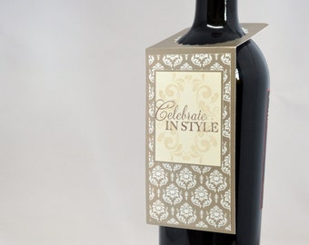 Hand Stamped Wine Bottle Tag for all Occasions