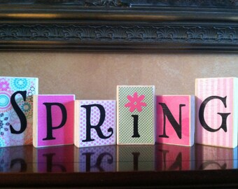 Wood Spring blocks - Seasonal - Spring Decor - Easter Blocks - Easter Decor - Home Decor