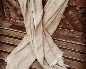 Handwoven woolen scarf, blanket or poncho