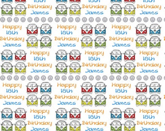 Personalised Wrapping Paper VW Campervan Birthday Gift Wrap With Own Name