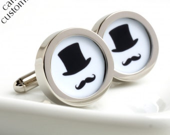 Groom Cufflinks - Top Hat and Moustache, Choose Your Colour