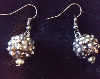 Charcoal Disco Ball Earrings