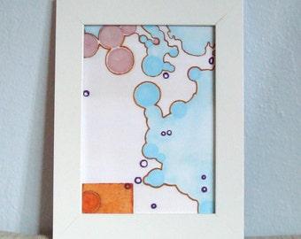 Abstrakte Kunst Kreise Gesicht Karte rosa blau Orange mit Block-Druck 5 x 7 digitale Kunstdruck