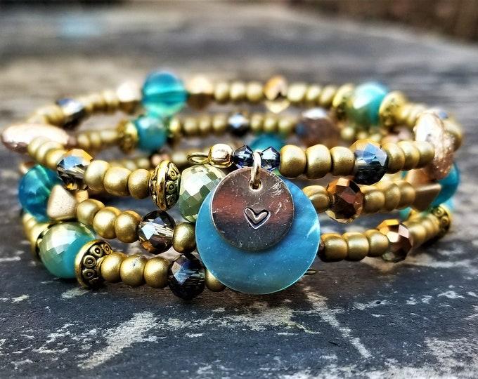 Maricela's Reluctantly Royal Gold & Blue Memory Wire Bracelet