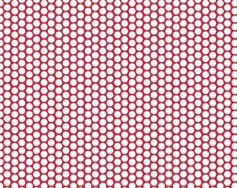 CLOSEOUT SALE Red honeycomb dot by Riley Blake 1 Yard