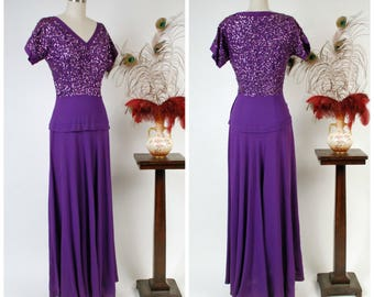 Vintage 1940s Dress - Spring 2018 Lookbook - Glamorous Frank Starr Saturated Purple Evening Gown with Sequined Bodice and Draped Skirt