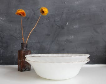 Vintage 1950's Anchor Hocking Fire-King Bowl! White Milk Glass with Swirl Pattern & Gold Trim   Vintage Fire King Bowls   White and Gold