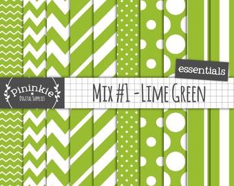 Green Scrapbook Paper, Lime Green Digital Paper, Green Polka Dot, Diagonal Stripe, Chevron Digital Paper