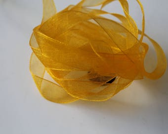 11 meters clementine - orange - 1 cm organza Ribbon-