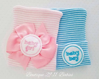 2 Newborn Hospital Hats- Baby Girl and Baby Boy. baby girl bow hat,  baby boy hat, coming home beanie