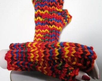 Chunky Mitts Fingerless Texting Gloves Hand Knit Rainbow LGBTQ Hypoallergenic - Size Medium