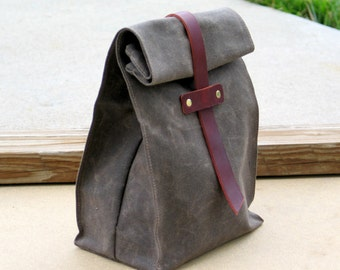 Waxed Canvas and Leather Lunch Tote Waxed Canvas Lunch Bag
