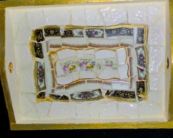 Mosaic Tray made with china pieces.