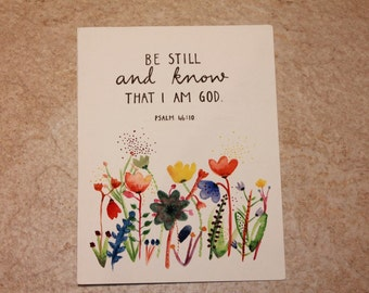 Bible Verse Mixed Media Painting Psalm 46:10 'Be still and know that I am God.'