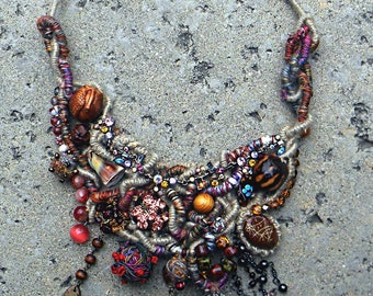 EXQUISITE MEDITERRANEAN NECKLACE - Wearable Fiber Art Jewelry As It's Best, Richly Beaded & Embellished