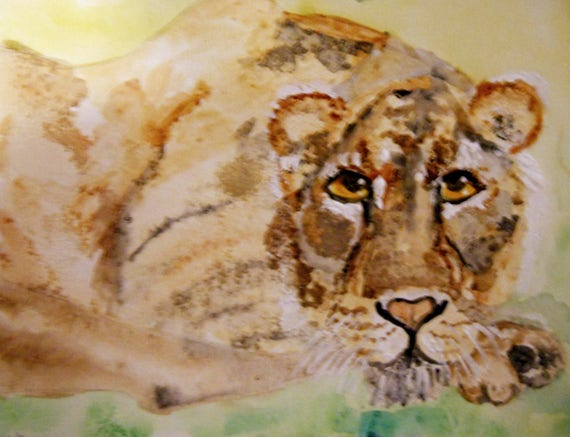 Mix Media Painting. REMEMBERING ELSA, legendary lioness queen, on watercolor paper by Artist Stacey Torres