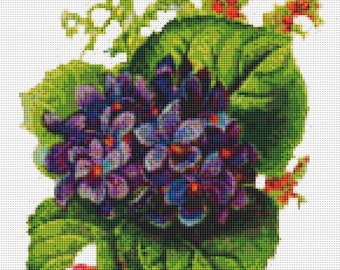 Cross Stitch Pattern, Cross Stitch Patterns, Cross Stitch, Counted Cross Stitch, Cross Stitch Chart, Xstitchpatterns, Cross Stitch Violets