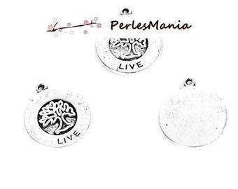 Hangers charmes boom LIVE in medaille kleur zilver, antieke S1194566