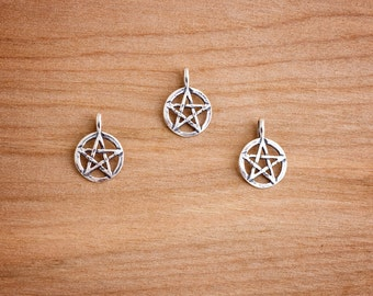 STERLING SILVER Small Pentacle - Pentagram Pendant - Chain Optional