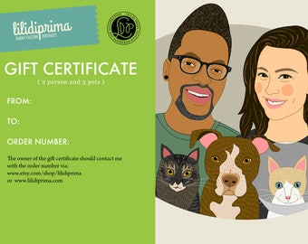 Custom couple portrait gift certificate.  Custom portrait of couples with 3 pets. Last minute Anniversary, Engagement or Wedding gift.