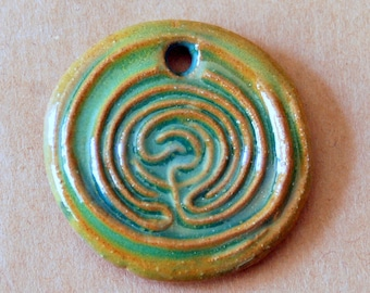 Large Labyrinth Ceramic Bead in Bright Green over Brown Stoneware - Pendant Bead with Extra Large Hole - Labyrinth Pendant