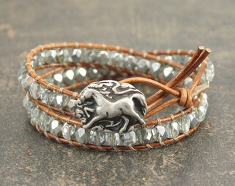 Horse Bracelet Silver Ice Blue Horse Jewelry Equestrian Jewelry Unique Sparkling Double Leather Wrap Bracelet