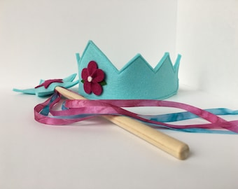 Wool Felt Crown and Wand-- silk and wool Fairy Child play set made with 100% merino wool-- beautiful natural and handmade
