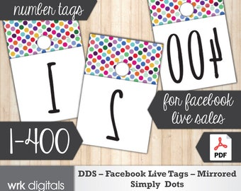 Dot Dot Smile Facebook Live Numbers, Mirrored Image 1-400, Fashion Consultant, Simply Dots Design, Direct Sales, INSTANT DOWNLOAD