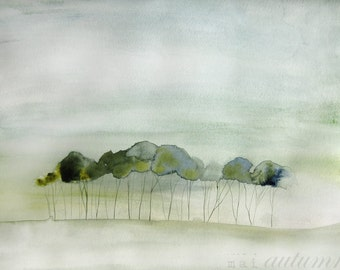 Landscape Painting - Quiet - Watercolor - 11x14 Giclee Print of Original Painting - Landscape with Green Trees