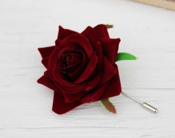 Red Rose boutonniere Wedding accessories Men's boutonniere Wedding flowers Fall wedding Men's accessories