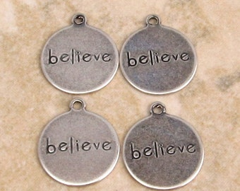 Believe Affirmation Charm, Antique Silver, Trinity Brass 4 Pc. AS280
