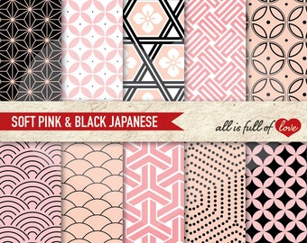 Japan Paper, digital papers, commercial use, scrapbook papers Pink Black background Valentines Digital Paper