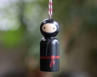 Ninja Peg Doll, Ninja Ornament, Personalized Ornament, Ninja Cake Topper, Hand painted doll, Ninja Stocking Stuffer, Black Ninja Figurine