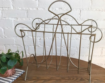 Vintage Brass Magazine Rack / Boho Style Rack