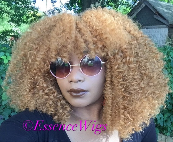 Essence Wigs Honey Blonde Wig Brazilian Remy Lacefront Wig Natural Human Hair Blend Kinky Curly Wig Lace Wig Unit 4b 4c 4a