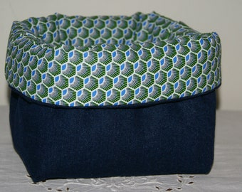 Fabric basket Organizer padded denim and blue and green hexagons