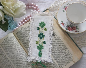 Victorian Steampunk Green Clover  Lace Cross Stitch Shabby Chic Book Mark-Free Shipping-Gift