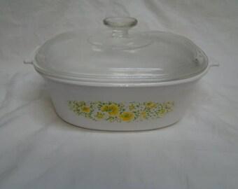 Corning Ware~April~Floral Oval Roaster Casserole 2.5 L Quart QT LID 1977-79 RARE