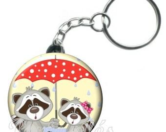 1 badge, raccoon animal keychain