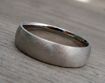 Recycled 950 Palladium Matte / Brushed Wedding Band, 6mm Wide, Comfort Fit, Eco-Friendly, Ethical, Made To Order