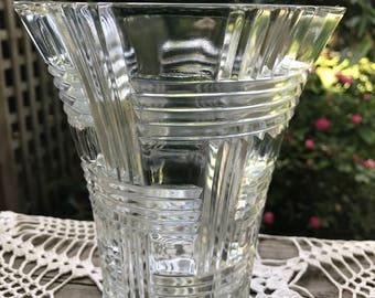 Vintage Clear Glass Basket Weave Pattern Vase