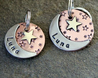 custom dog id tag- pet tag with moon and start- medium Luna  pet id tag