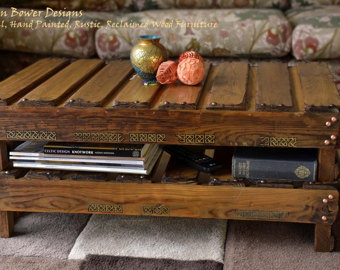 Rustic Reclaimed Wood Celtic Coffee Table in Medium Oak Stain with King Solomon's Knot Celtic Design & Under Shelf Storage Handmade to Order