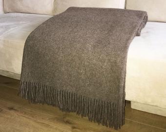 Brown wool blanket / wool bedspread / king size wool bedspread / brown wool throw blanket 'Boteh 21'