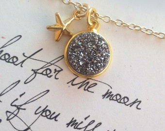 Shoot for the Moon, inspirational, promotion gift, support gift, graduation gift, co-worker gift, motivational gift druzy necklace